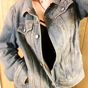 Gap Distressed Soft Wool Lined Denim Jean Jacket